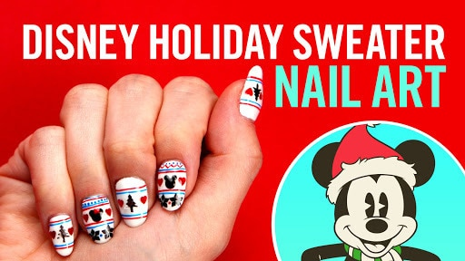 Mickey & Minnie Holiday Sweater Nail Art | TIPS by Disney Style