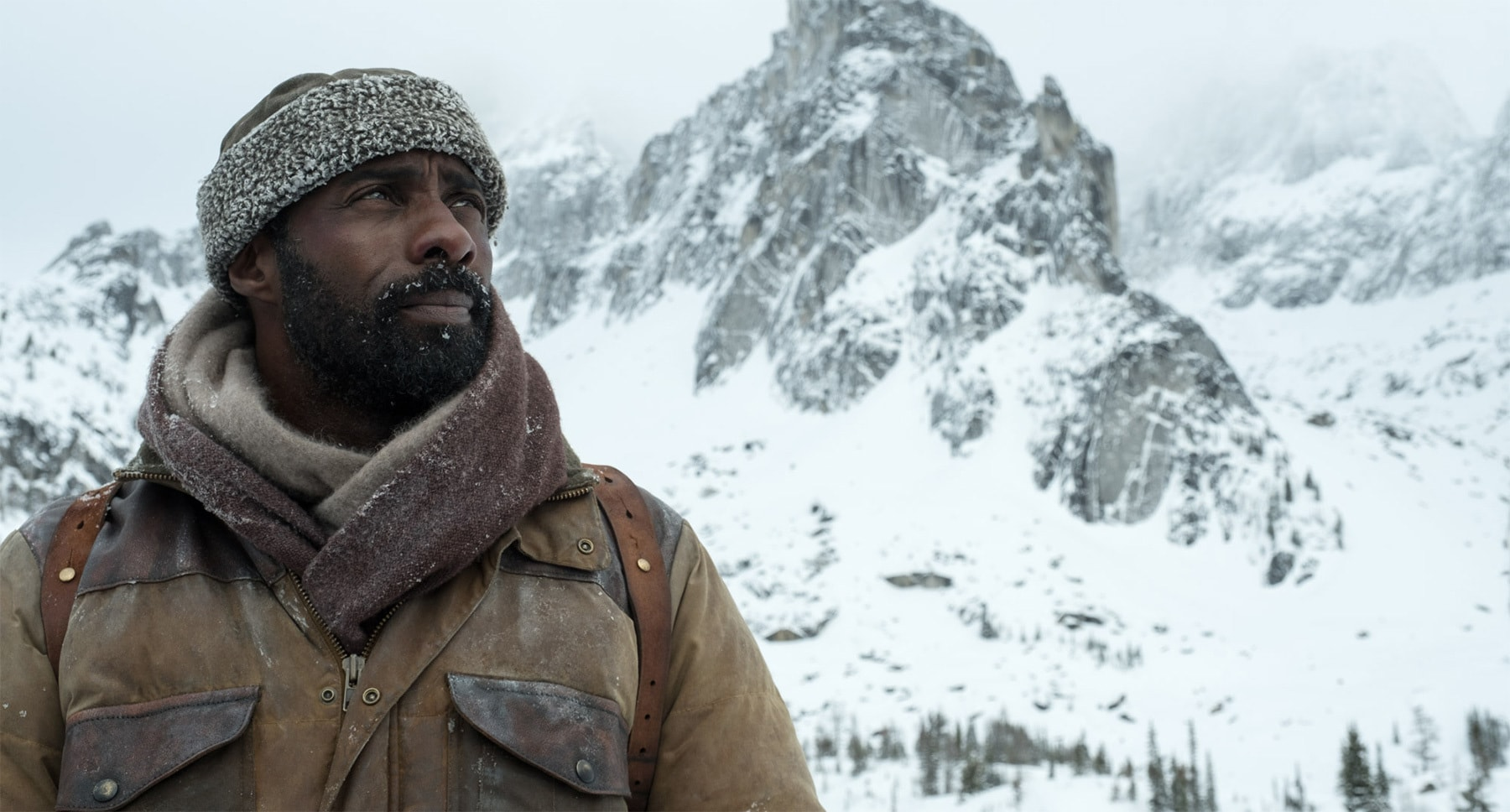 "Idris Elba (as Ben Bass) on a snowy mountain in the movie ""The Mountain Between Us"""