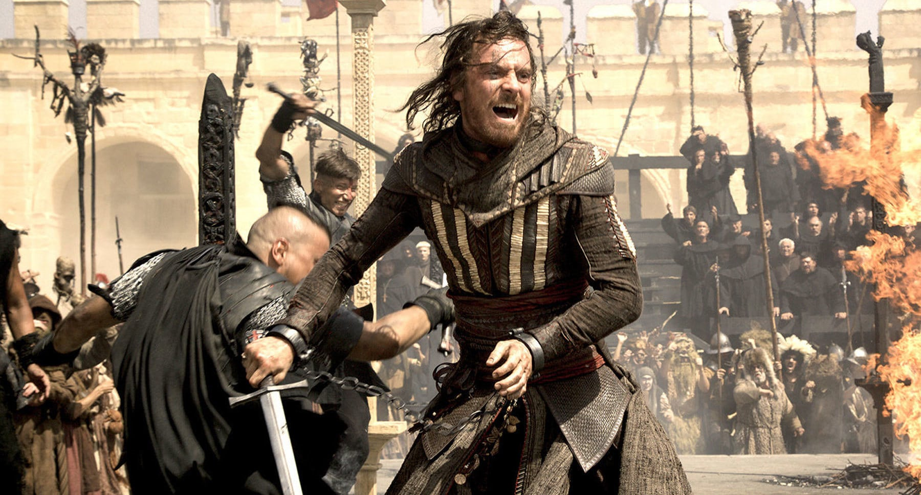"Actor Michael Fassbender (as Aguilar) sword fighting in the movie ""Assassin's Creed"""