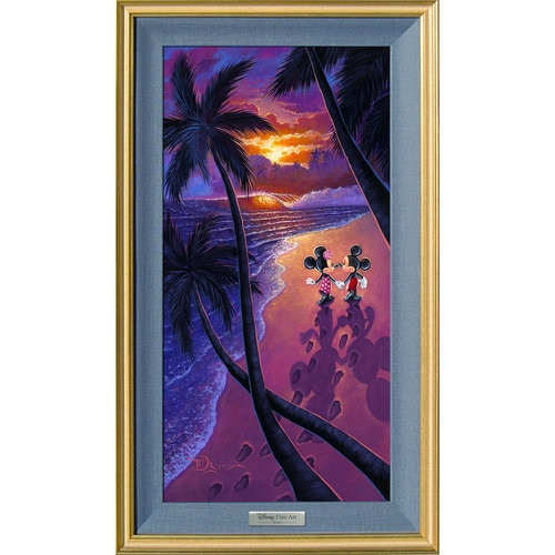 Mickey And Minnie Mouse Sunset Stroll Gicl 233 E On Canvas