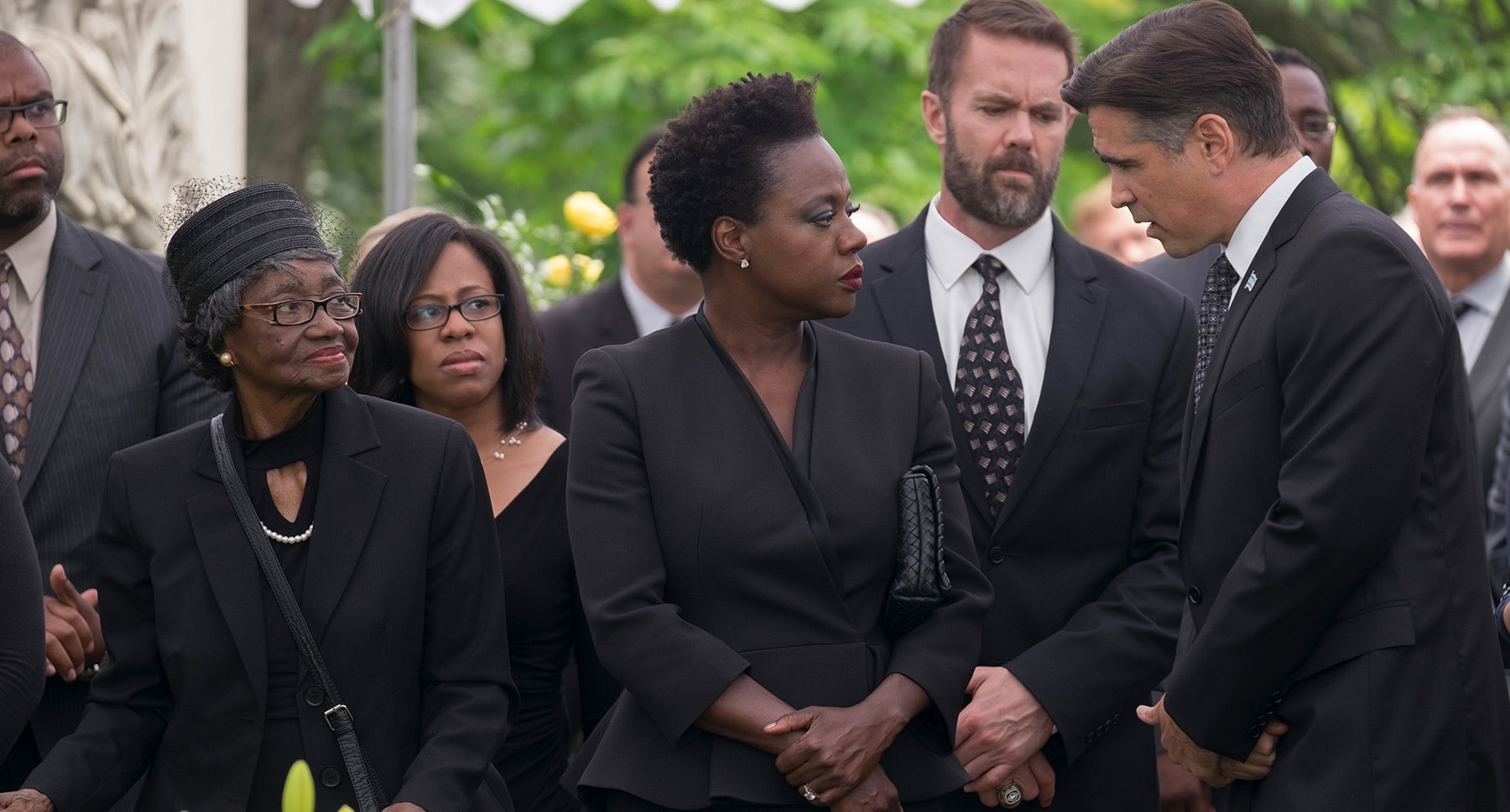 "Viola Davis, Colin Farrell at a funeral in the movie ""Widows"""