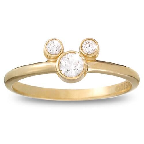 Diamond Mickey Mouse Ring 18K Yellow Gold