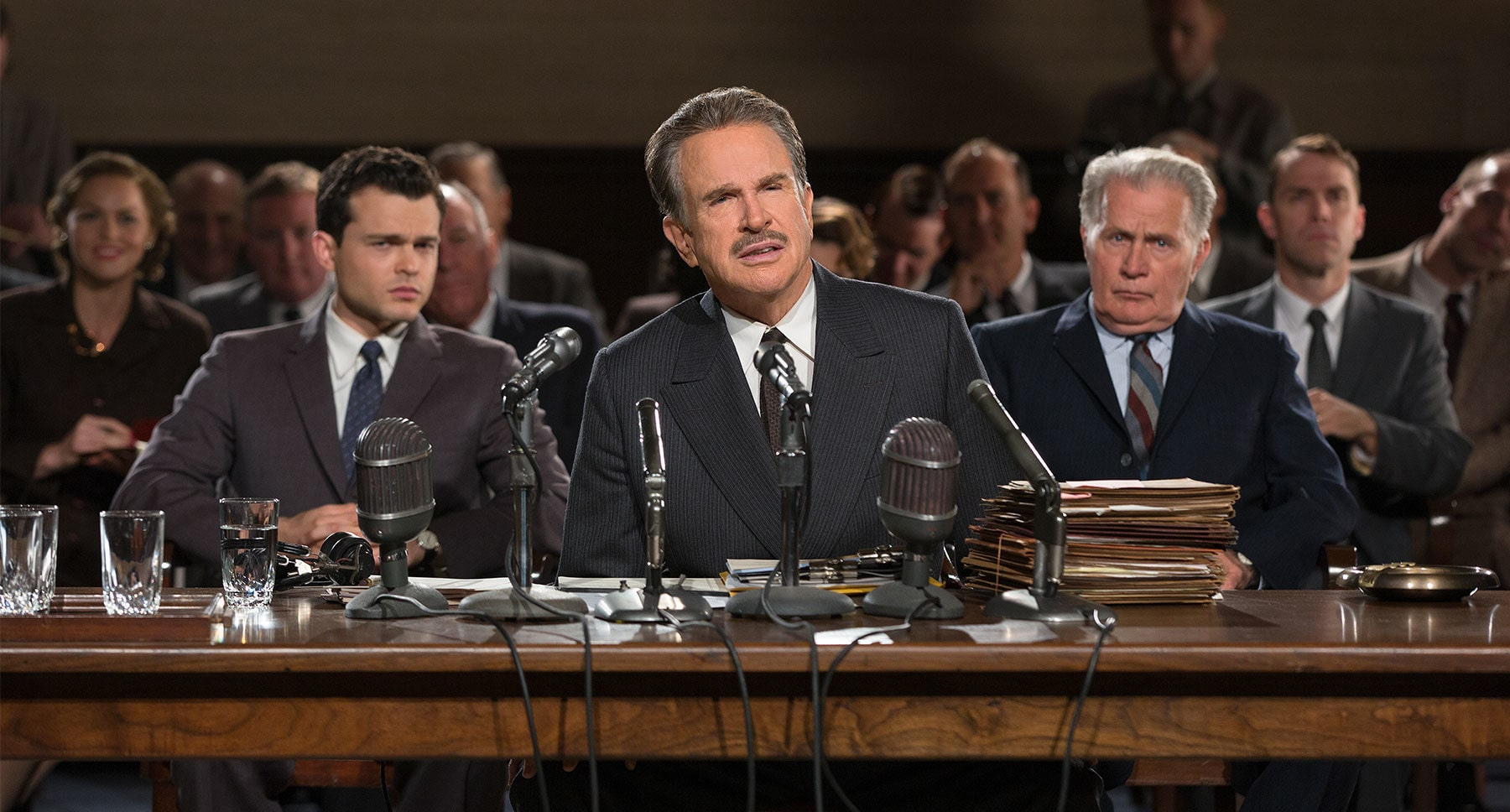 "Warren Beatty, Martin Sheen and Alden Ehrenreich in ""Rules Don't Apply"""