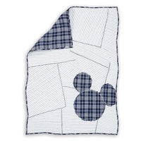 Mickey Mouse Ticking Stripe Mickey Toddler Quilt by Ethan Allen