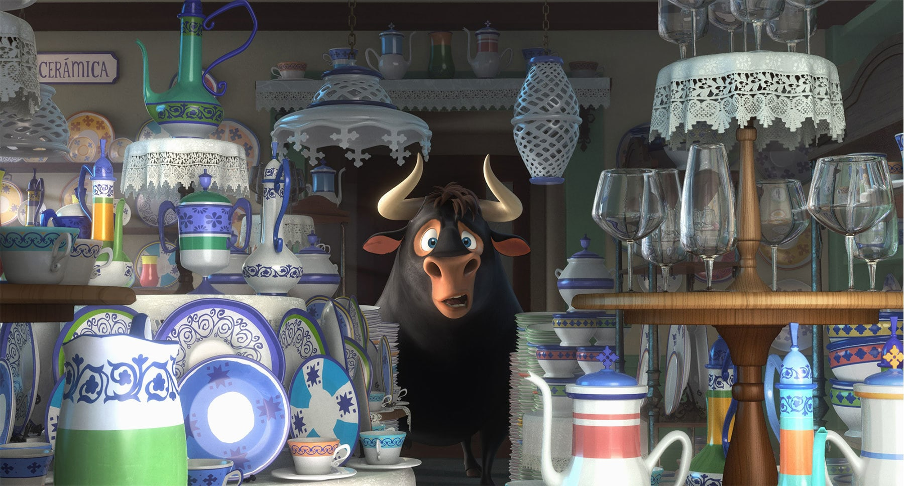 "John Cena as Ferdinand the bull in a china shop in the movie ""Ferdinand"""