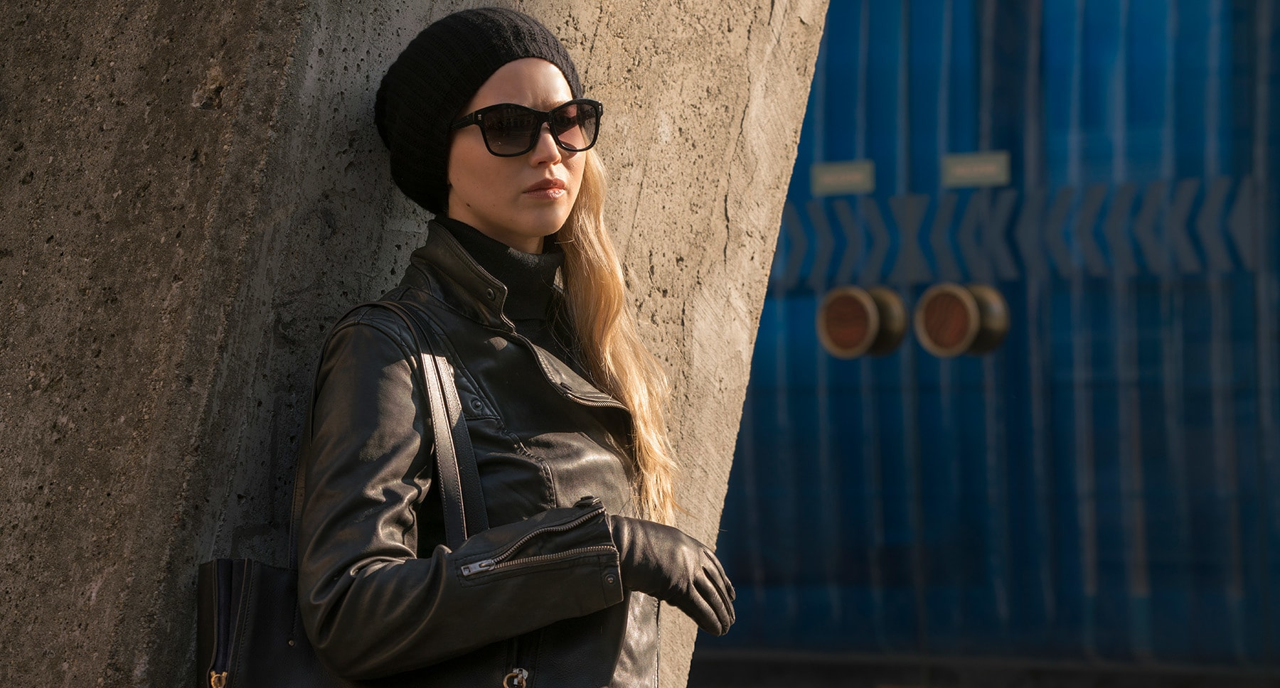 "Jennifer Lawrence (as Dominika Egorova) in the movie ""Red Sparrow"""