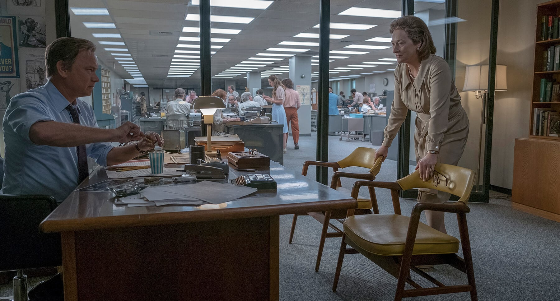 "Tom Hanks and Meryl Streep in an office in ""The Post"""