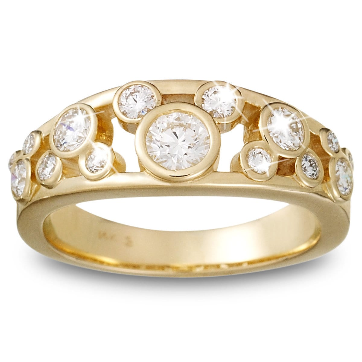 Diamond Mickey Mouse Icon Ring for Women - 14K Yellow Gold ...