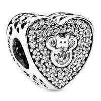Image of Mickey and Minnie Mouse Heart Charm by Pandora Jewelry # 2