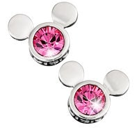 Image of Mickey Mouse Icon Earrings by Arribas - Pink # 1