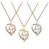 Diamond Heart Mickey Mouse Necklace - 18 Karat