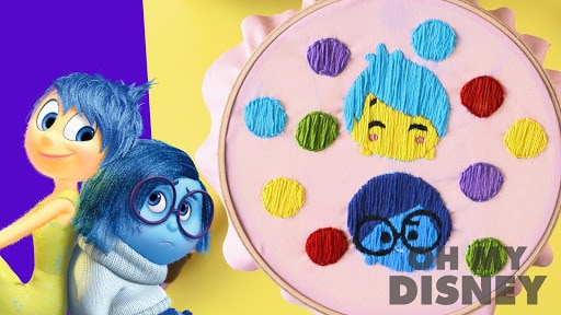 Inside Out's Sadness and Joy Embroidery | Sketchbook by Oh My Disney
