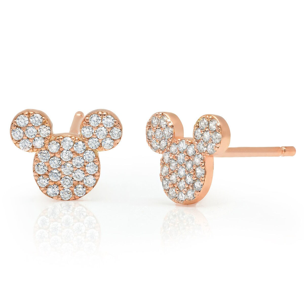 Product Image Of Mickey Mouse Icon Stud Earrings By Crislu Rose Gold 1