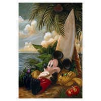 Image of Mickey Mouse and Pluto ''Sundown Surfer Mickey Mouse'' Giclée by Darren Wilson # 1