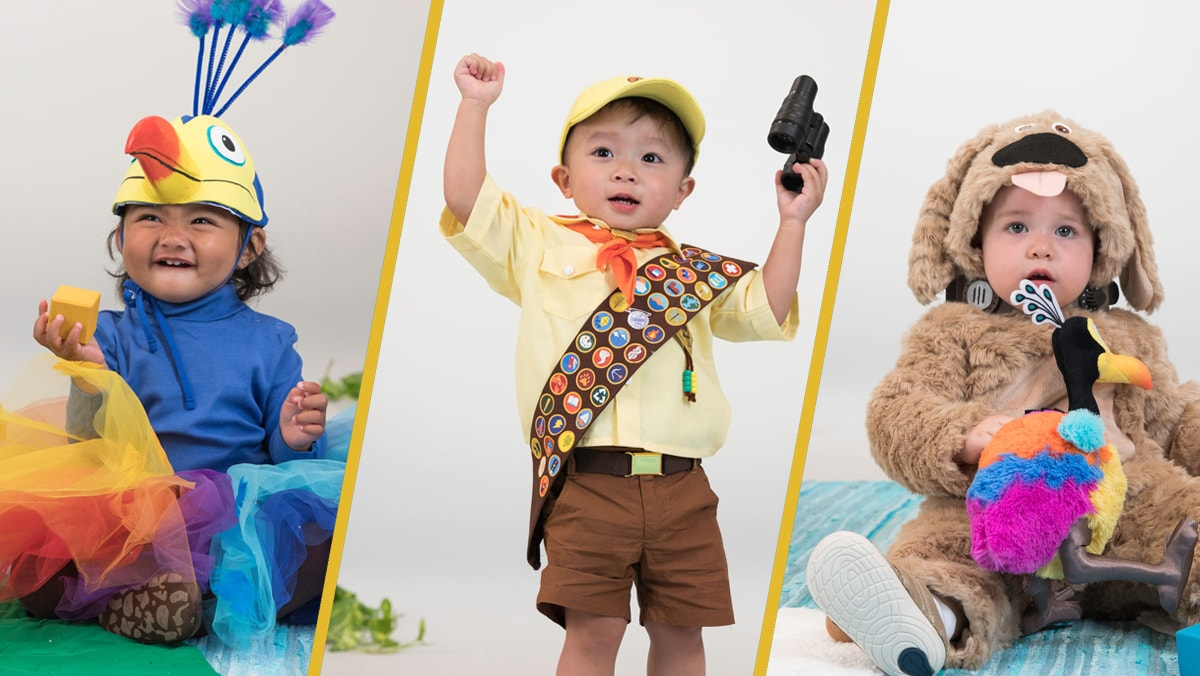 Babies Dressed as Russell, Dug, and Kevin from Up | Disney Family