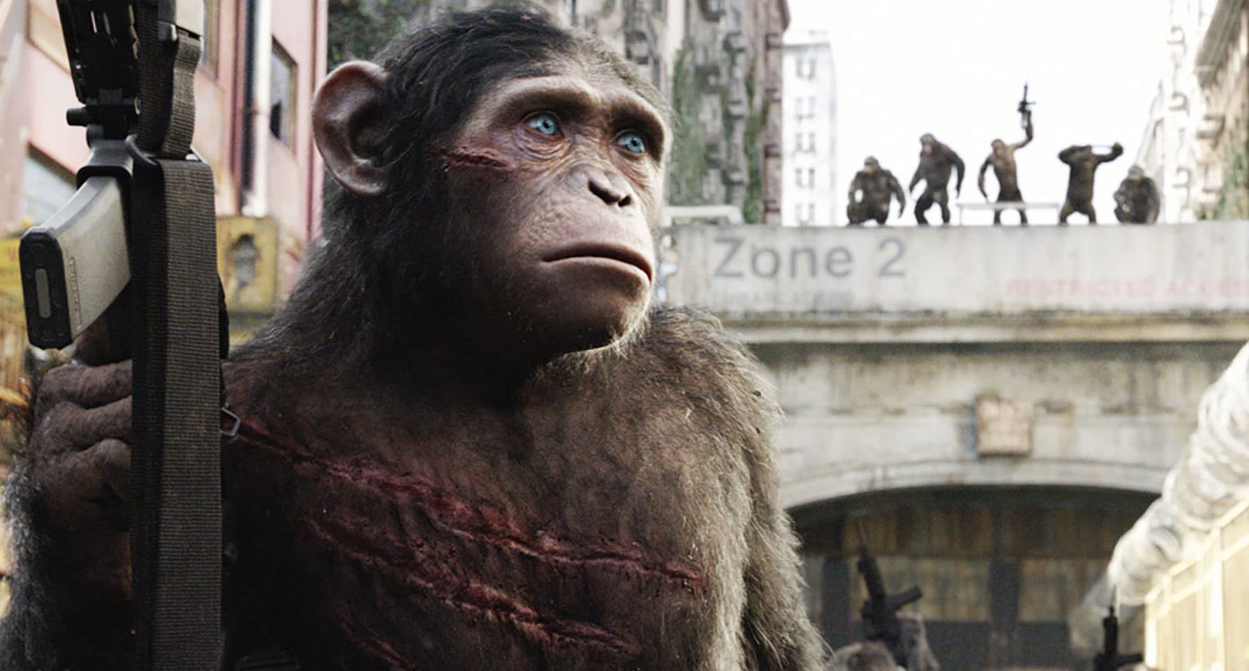 "Blue Eyes Ape character (played by Nick Thurston) holding a gun in the movie ""Dawn Of The Planet Of The Apes"""