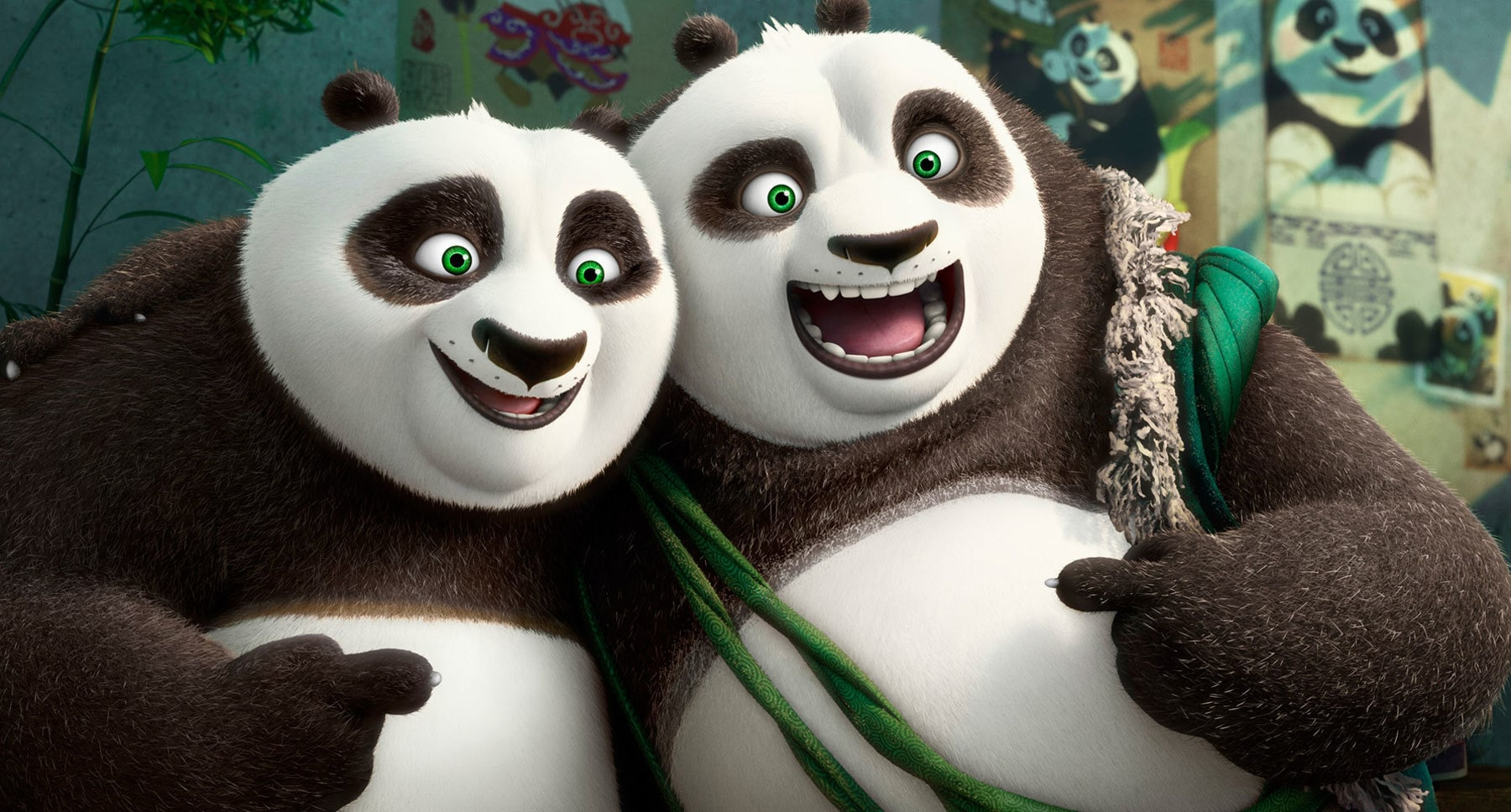 "Pandas Po (Jack Black) and Li (Bryan Cranston) in the movie ""Kung Fu Panda 3"""