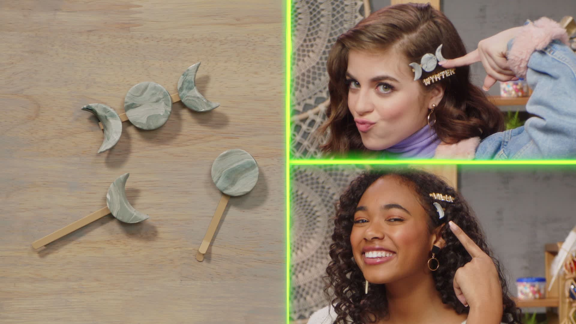 How to Make Moon Hair Clips with Chandler and Ariel