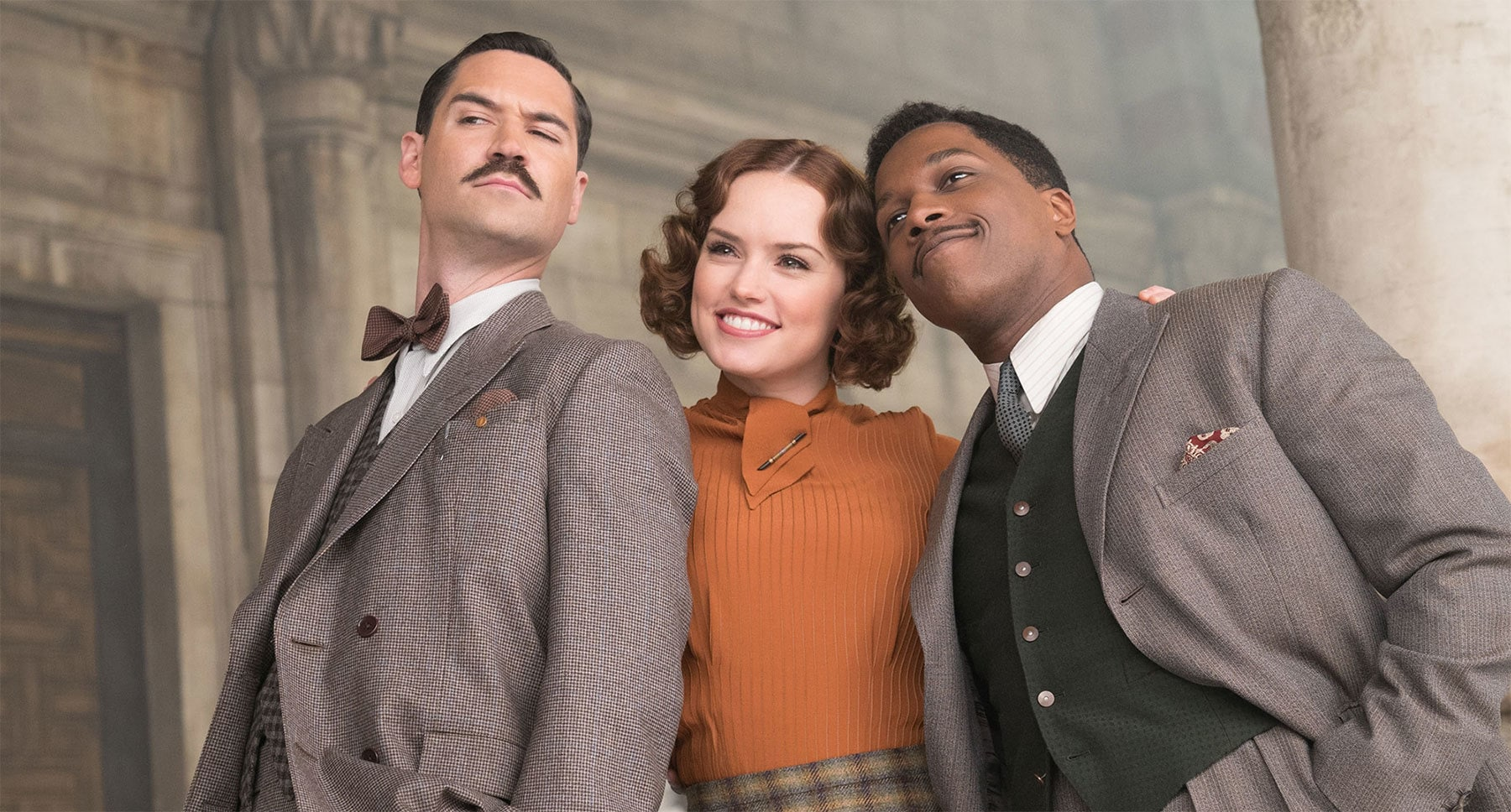 "Leslie Odom Jr., Manuel Garcia-Rulfo, and Daisy Ridley in ""Murder on the Orient Express"""