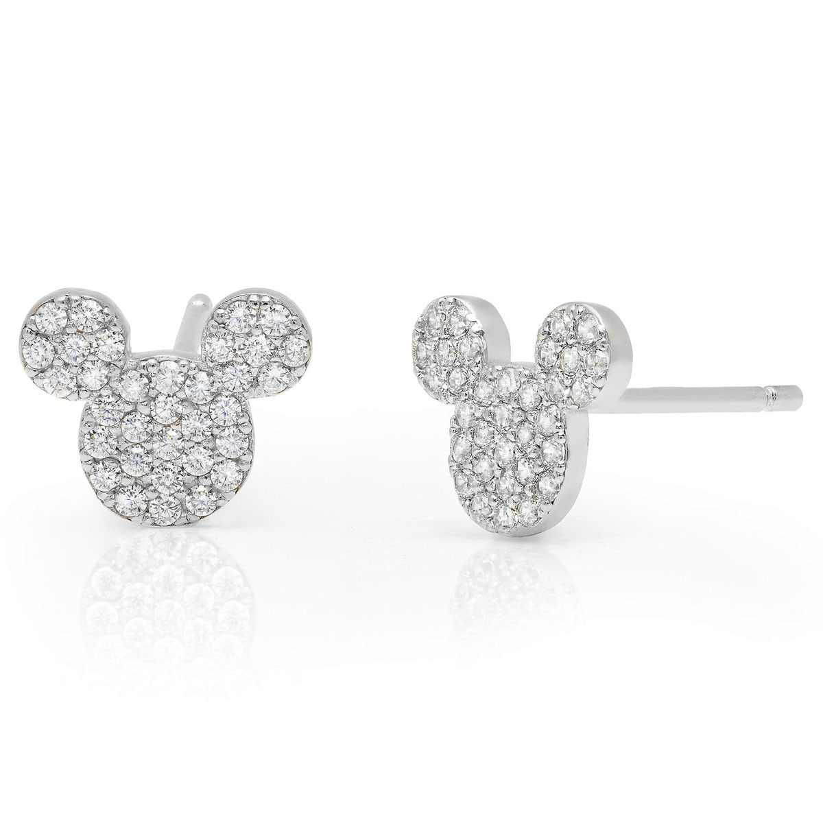 Product Image Of Mickey Mouse Icon Stud Earrings By Crislu Platinum 1