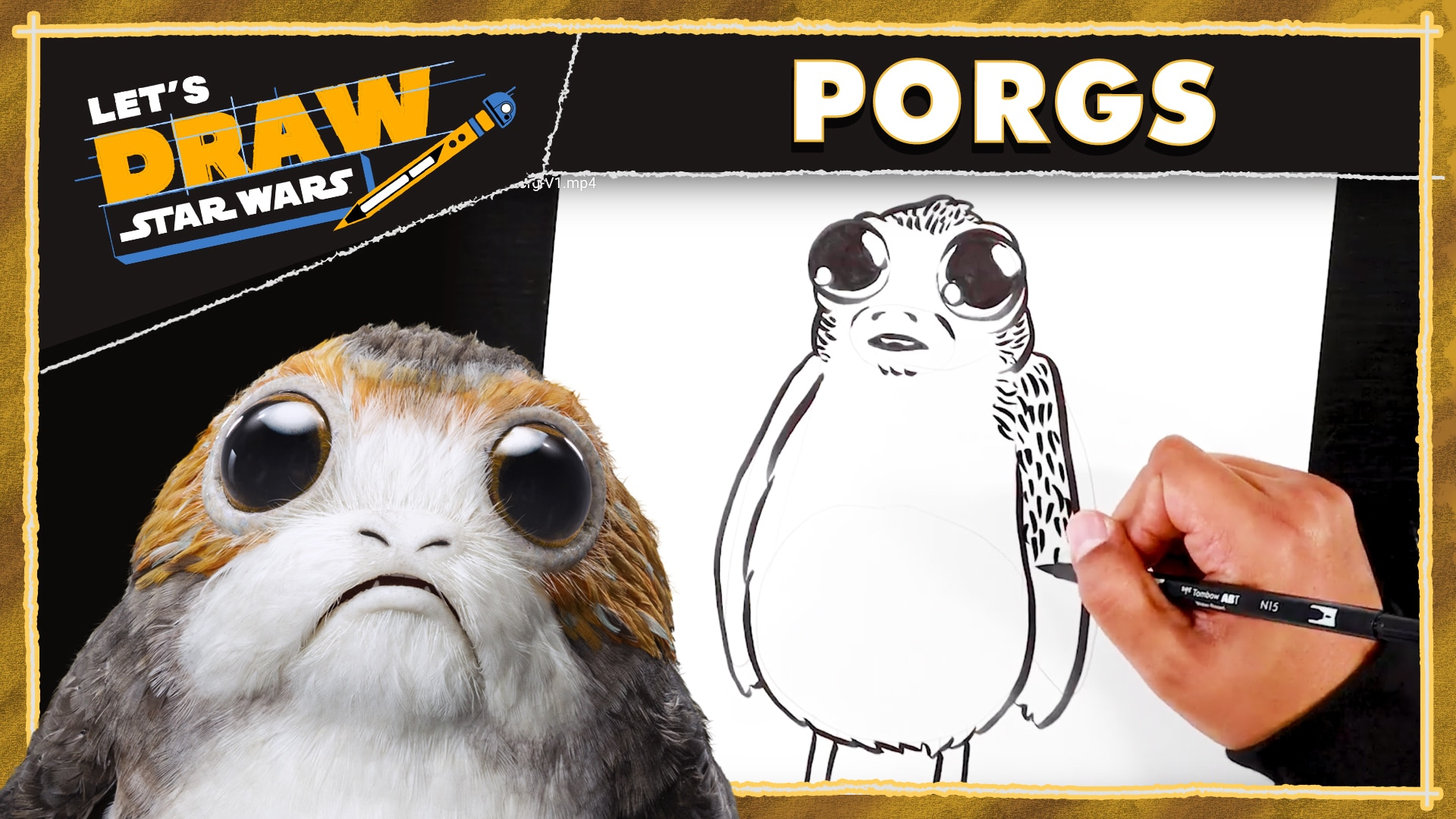 How to Draw Porgs | Let's Draw Star Wars
