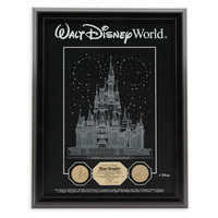 Image of Cinderella Castle Etched Glass Panel with 24kt Gold Overlay Medallions - Walt Disney World - Limited Edition # 1