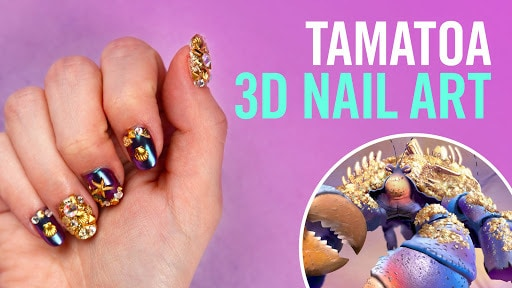 Moana's Tamatoa Gold 3D Nail Art | TIPS by Disney Style