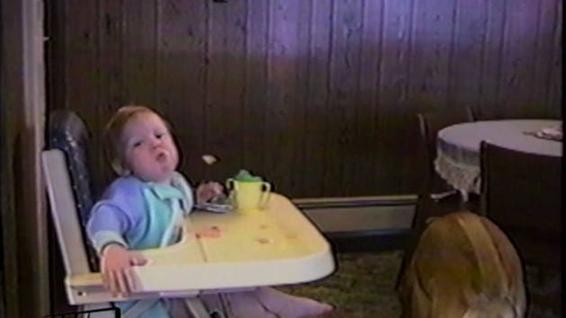 Good Catch! Baby Launches Cereal Into Dog's Mouth