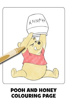 Pooh and Hunny Colouring Page