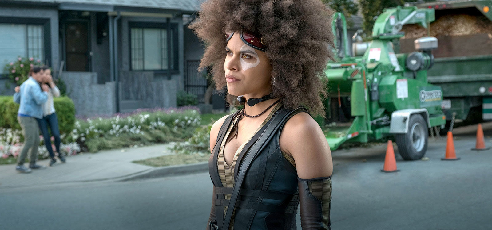 "Actor Zazie Beetz (as Domino) in the movie ""Deadpool 2"""