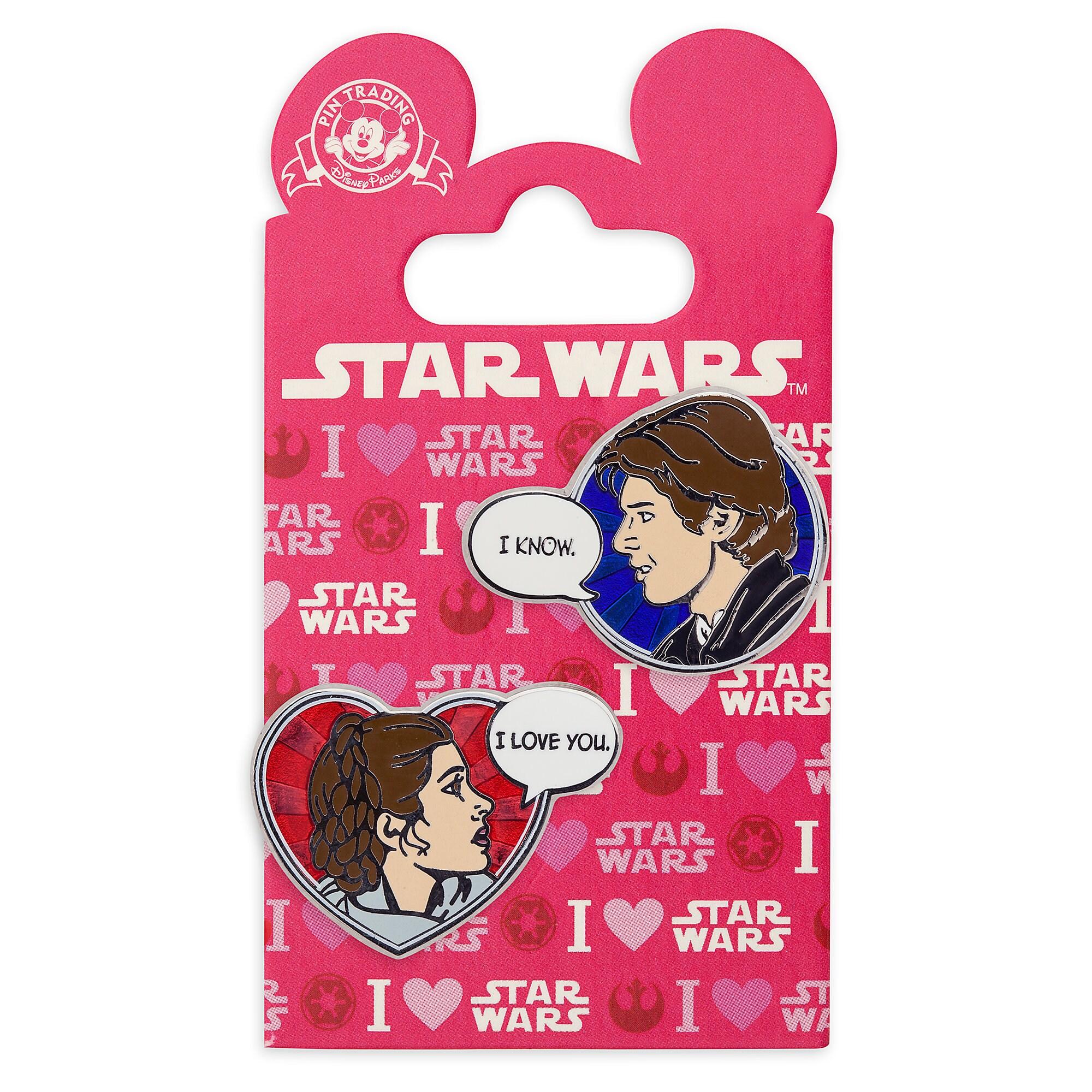 Han Solo And Princess Leia Pin Set   Star Wars