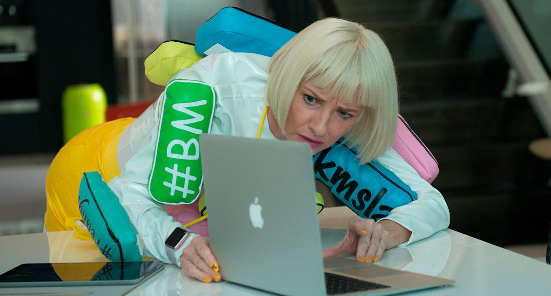 "Actor Jane Horrocks (Bubble) looking at laptop in ""Absolutely Fabulous: The Movie"""