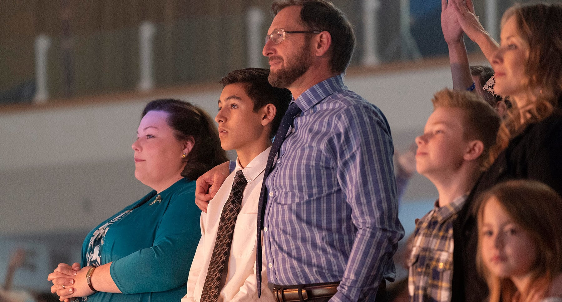 "Actors Josh Lucas (as Brian Smith), Marcel Ruiz (as John Smith) and Chrissy Metz (as Joyce Smith) in the film ""Breakthrough"""