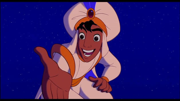 Aladdin offering his hand to Jasmine
