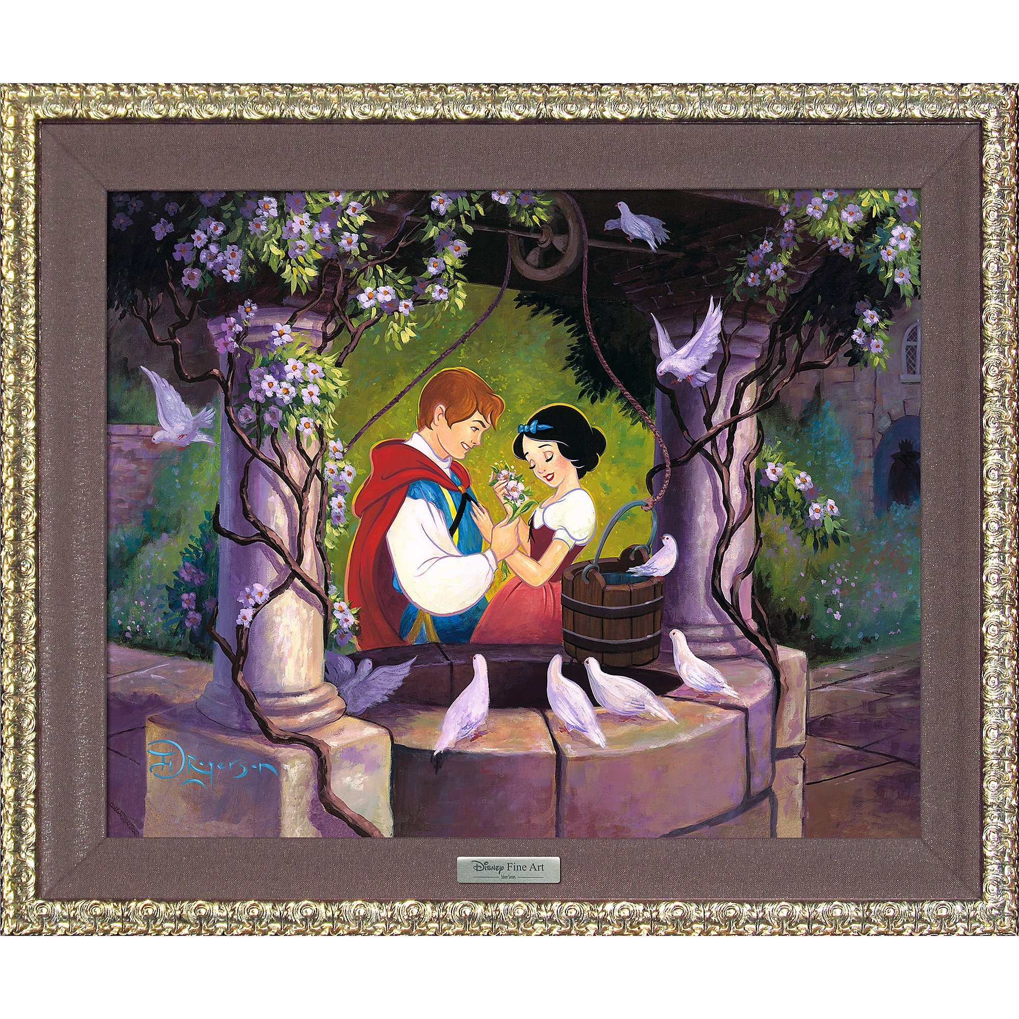 Snow White ''The Wishing Well'' Giclée on Canvas by Tim Rogerson - Limited Edition