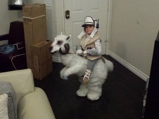 How Clint Case Won Halloween with a Tauntaun-Riding Luke Skywalker Costume for His Son