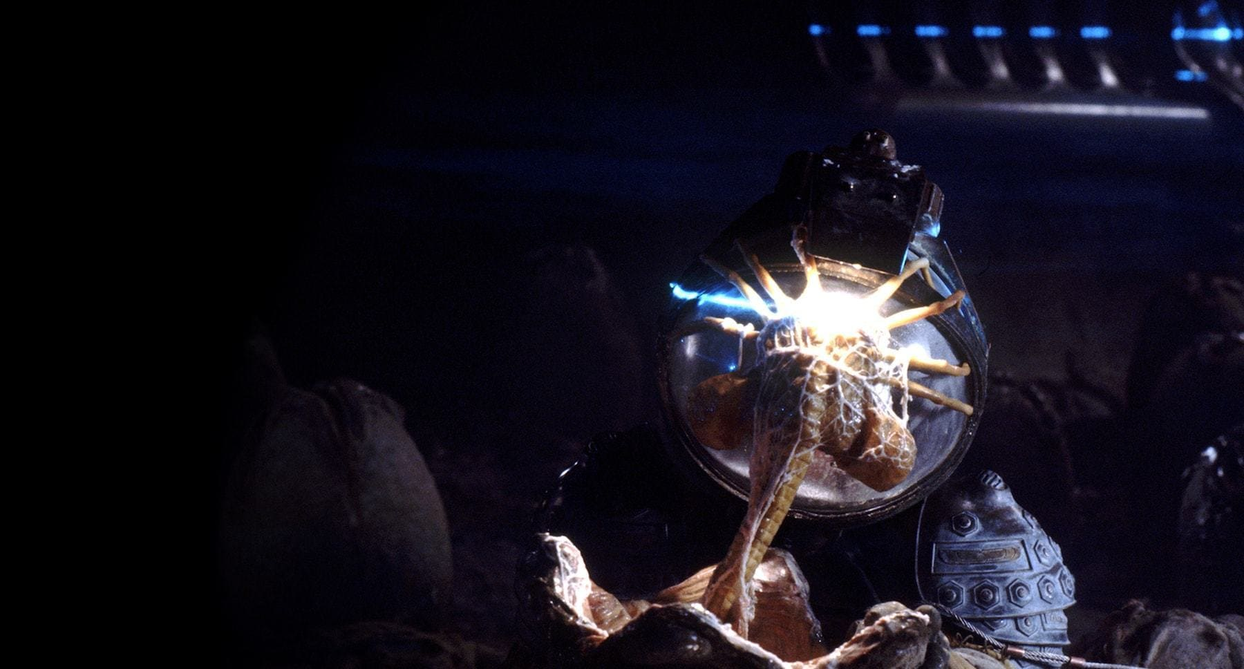 "Face Hugger Alien attached to a helmet in the film ""Alien"""