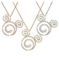Diamond Swirl Mickey Mouse Necklace - 18K