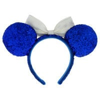 Image of Minnie Mouse Ears Headband - Blue and White # 2