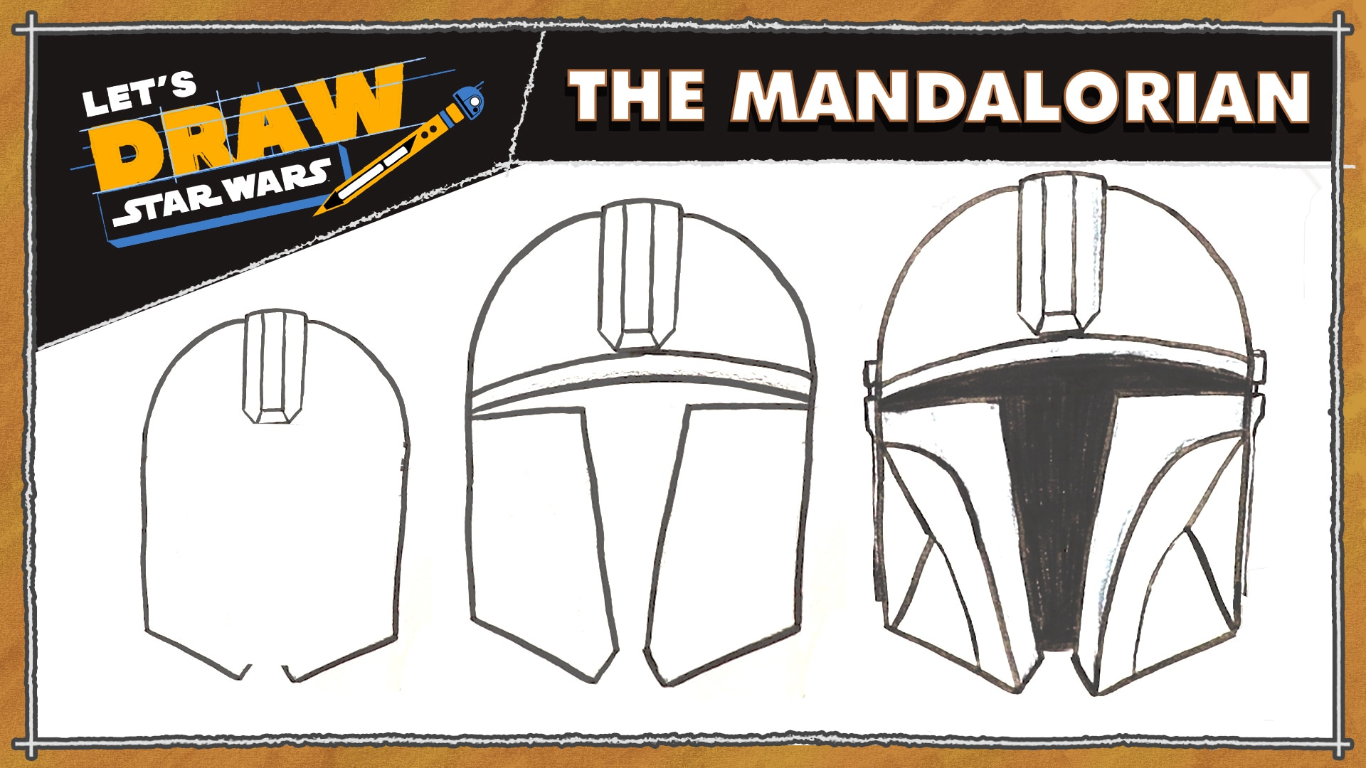How to Draw a Mandalorian Helmet | Let's Draw Star Wars