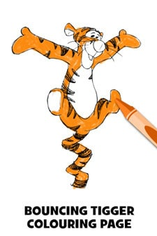 Tigger Bouncing Colouring Page