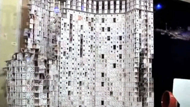 Huge Card House Fall