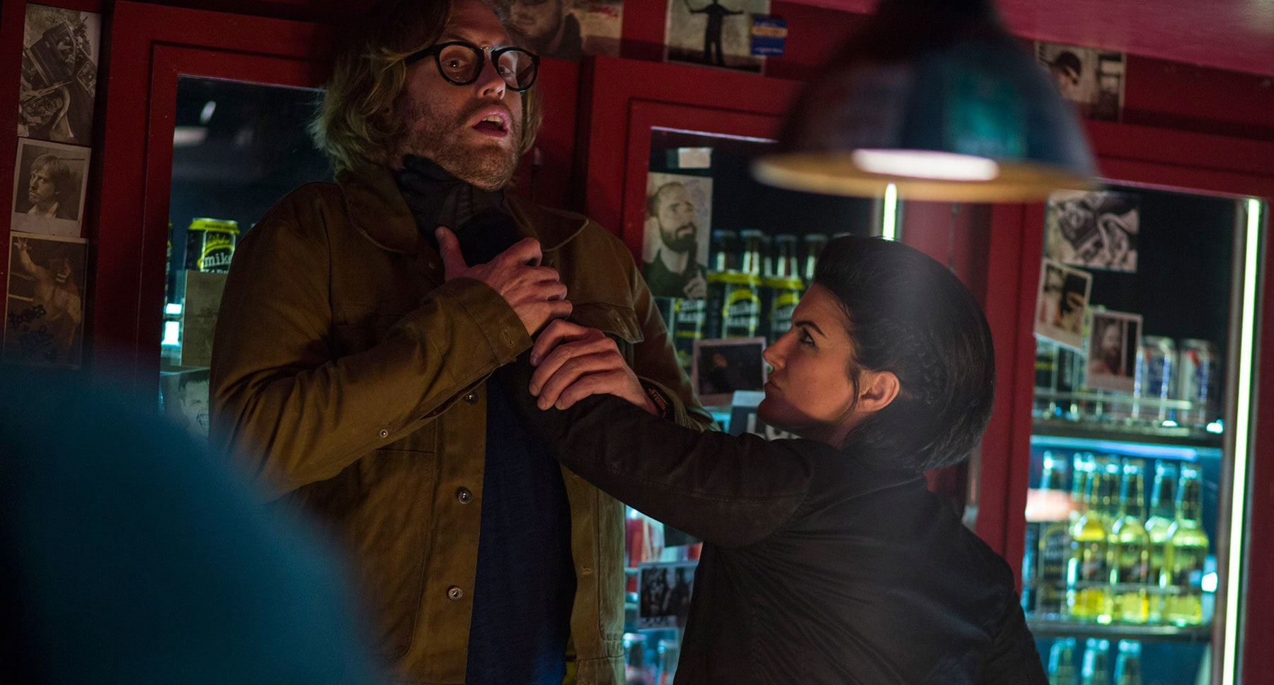 "Gina Carano (as Angel Dust) and T.J. Miller (as Weasel) in ""Deadpool"""