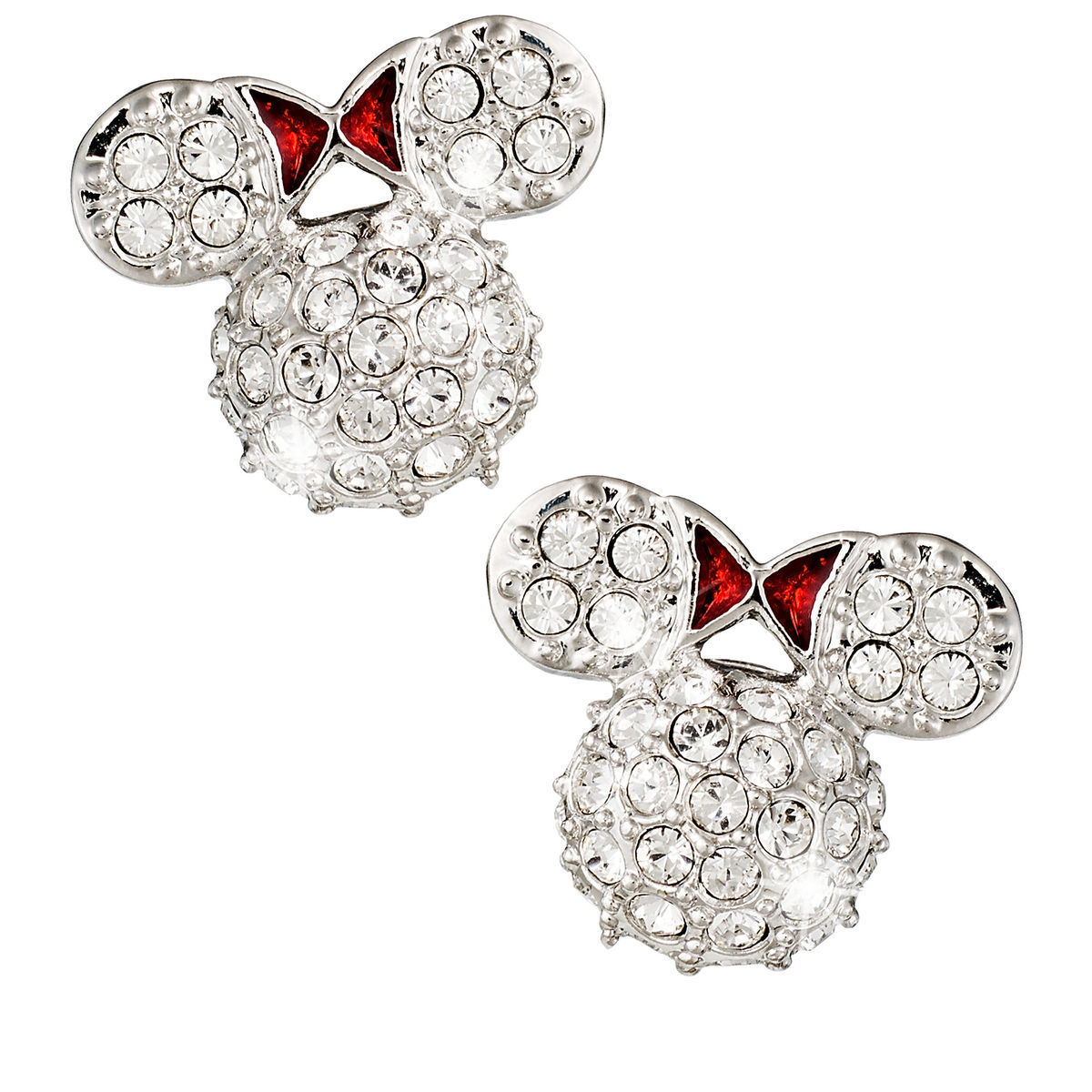 Product Image Of Minnie Mouse Icon Earrings By Arribas Domed 1