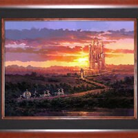 Cinderella ''Castle at Sunset''Giclée on Canvas by Rodel Gonzalez