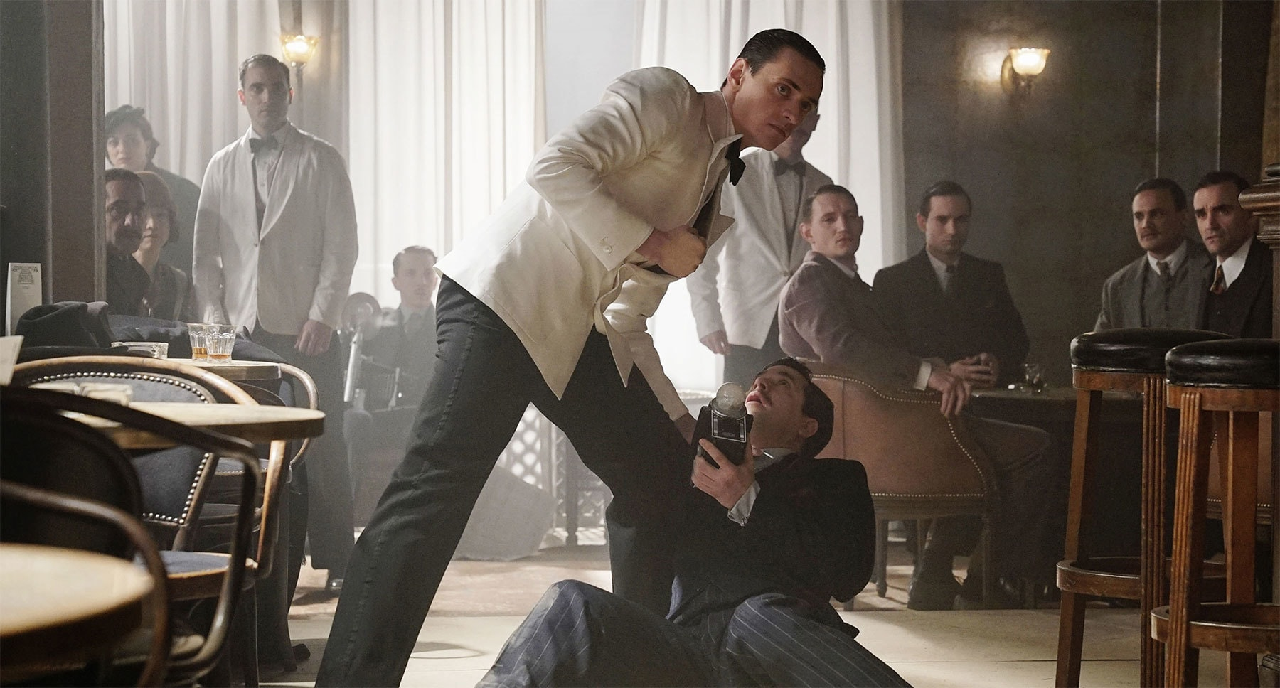 "Adam Garcia (as Italian Fan) and Sergei Polunin (as Count Rudolph Andrenyi) fighting in ""Murder on the Orient Express"""