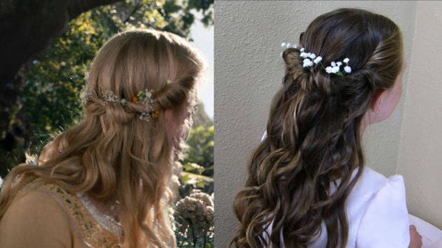 Auroras Tie Back Twist With Flowers A Princess Hairstyles Disney