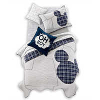 Image of Mickey Mouse Ticking Stripe Mickey Quilt by Ethan Allen # 2