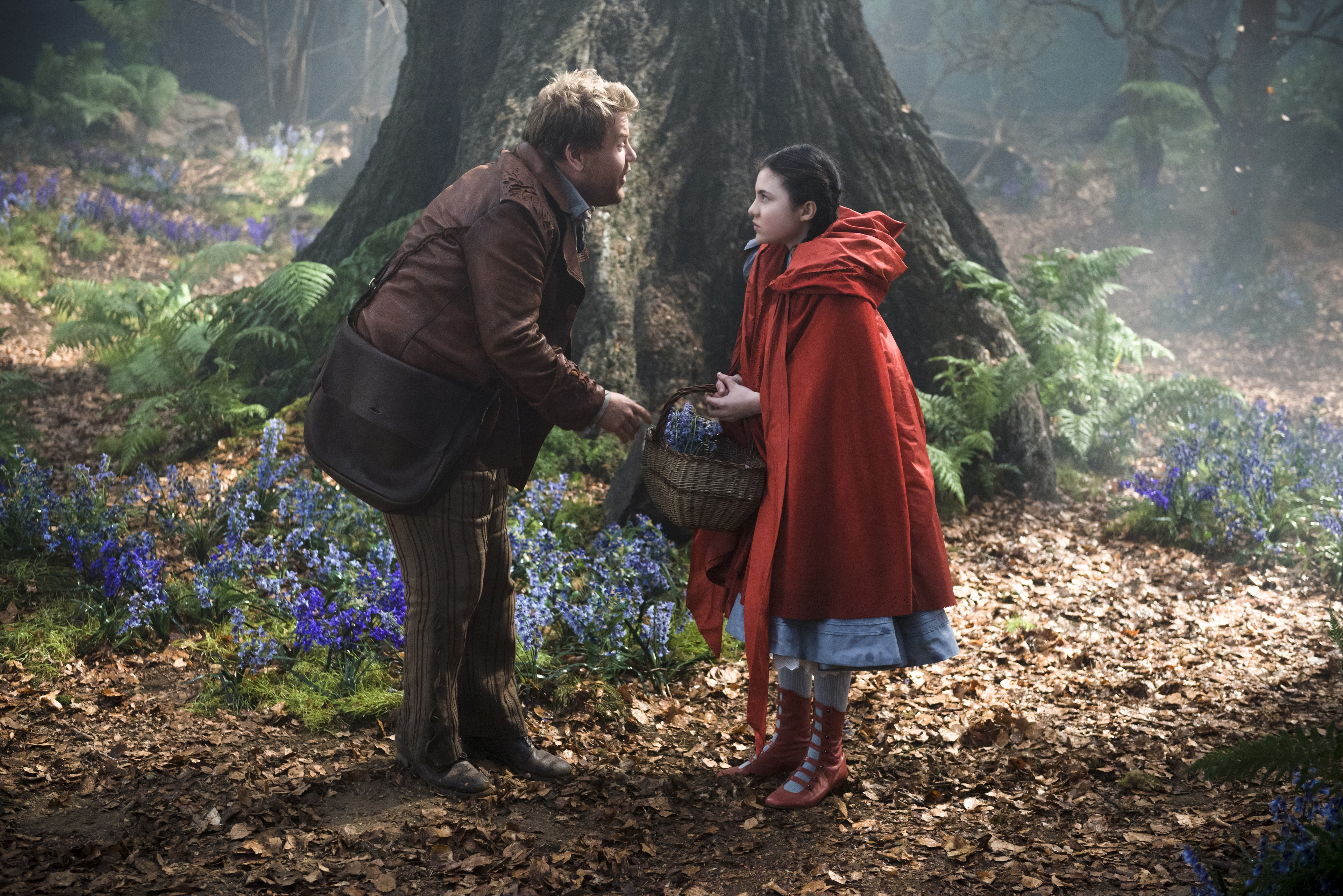 """James Corden as the baker and Lilla Crawford as Little Red Riding Hood in """"Into the Woods"""""""