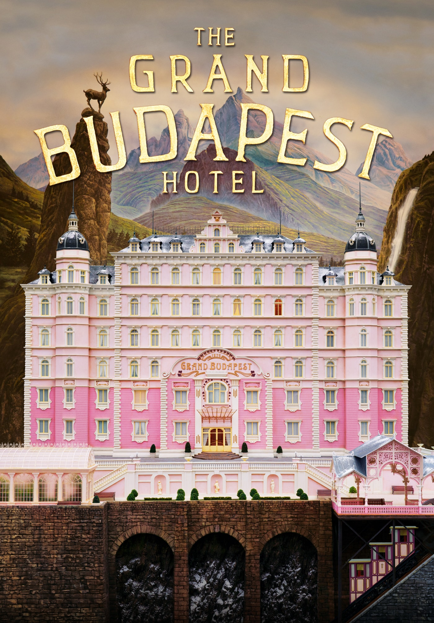 The Grand Budapest Hotel poster; White and pink hotel with mountains in the background